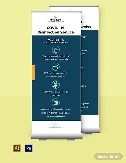 Coronavirus COVID-19 Disinfection Service Roll-up Banner Template