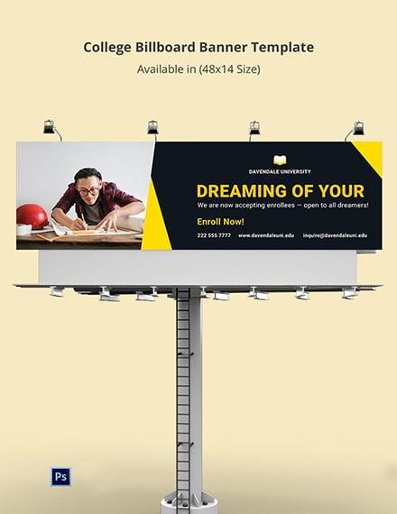 College Billboard Banner Template