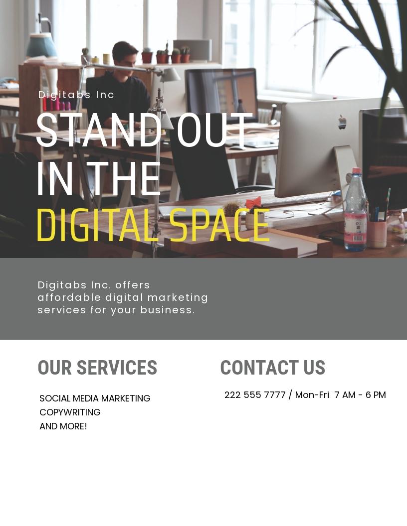 Digital Marketing Flyer Template [Free JPG] - Illustrator, Word, Apple Pages, PSD, Publisher