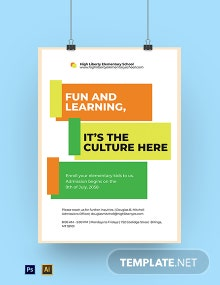 Elementary School Admission Poster Template