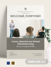 School Orientation Day Poster Template