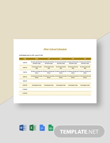 Editable After School Schedule Template