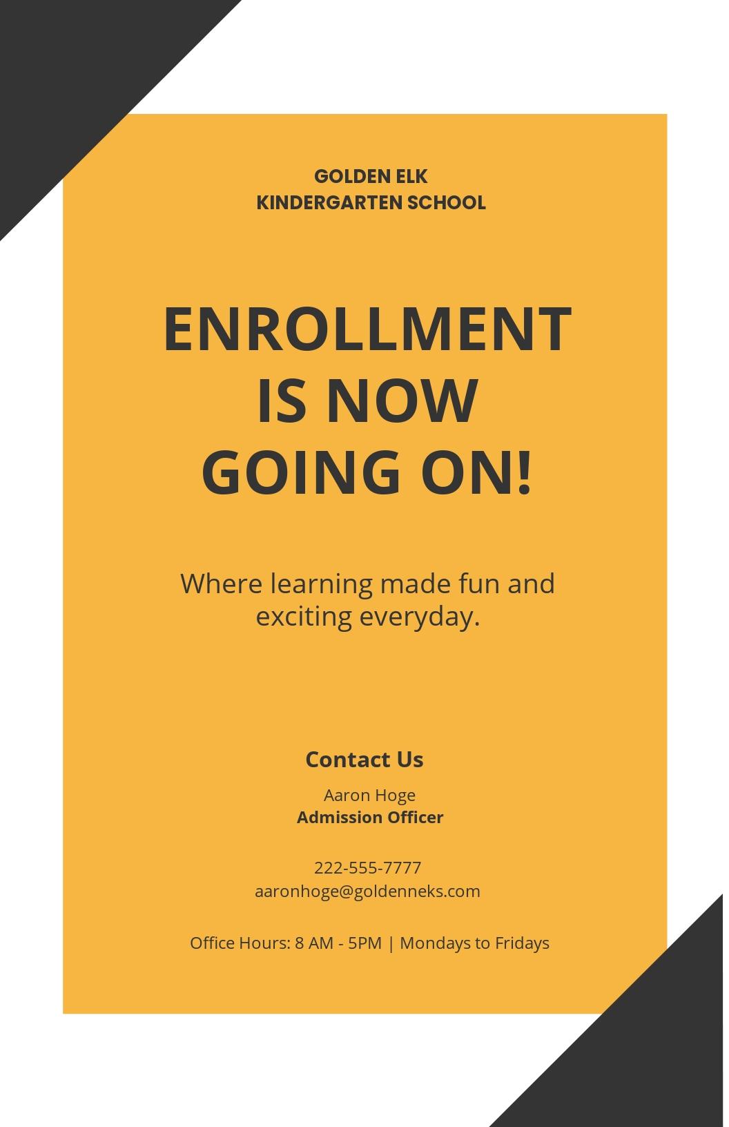 Free Simple Preschool Poster Template