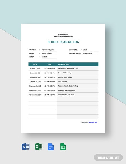 Free School Reading Log Template