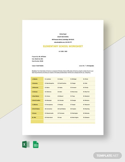 Elementary School Worksheet Template