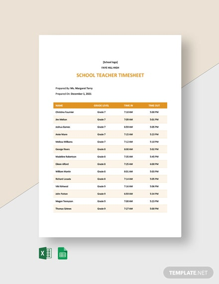 School Teacher Timesheet Template
