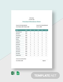 Preschool Attendance Sheet Template