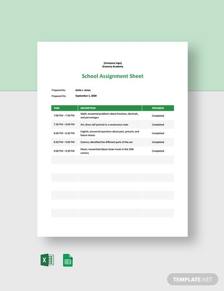 School Assignment Sheet Template