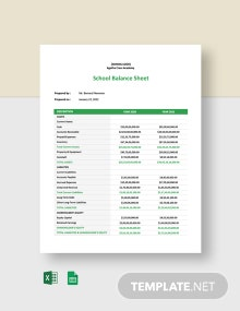 School Balance Sheet Template