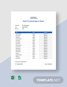 Back To School Sign In Sheet Template