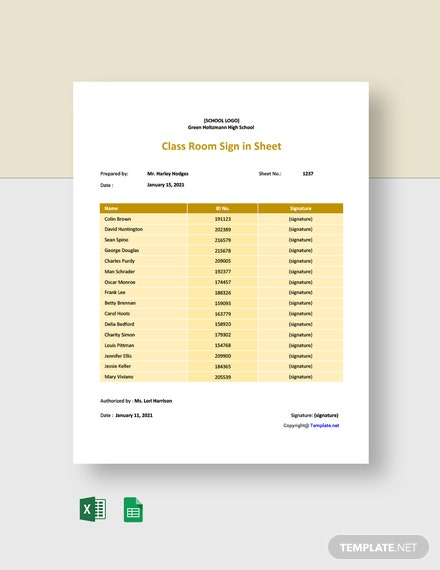 Free Class Room Sign in Sheet Template