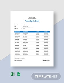 Parent Sign-in Sheet Template