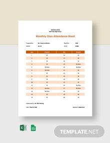 Monthly Class Attendance Sheet Template