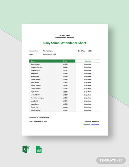 Free Daily School Attendance Sheet Template