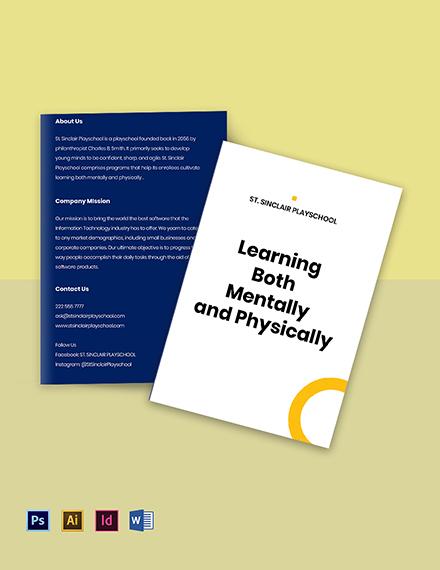 Bi-Fold Play School Brochure Template