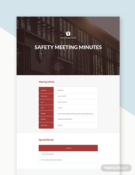 University Safety Committee Meeting Minutes Template