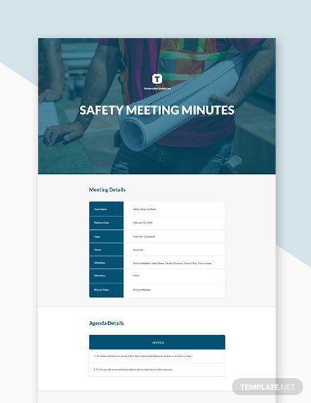 Facilities & Construction Safety Committee Meeting Minutes Template