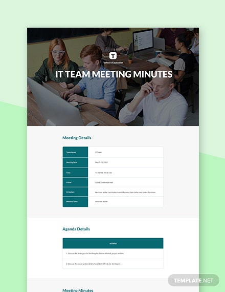 Corporate Company Meeting Minutes Template