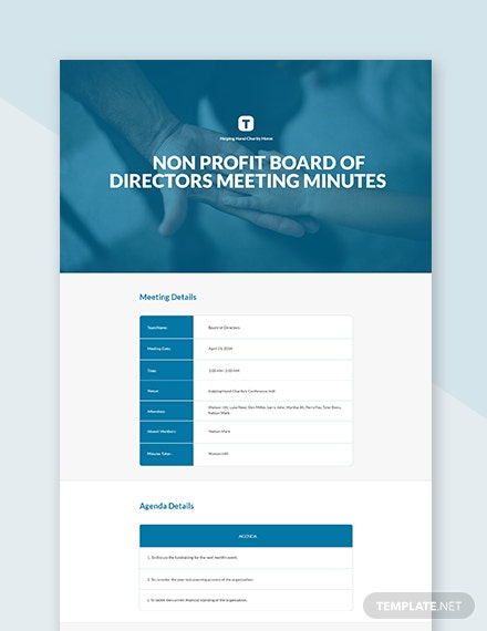 Nonprofit Board Of Directors Meeting Minutes Template