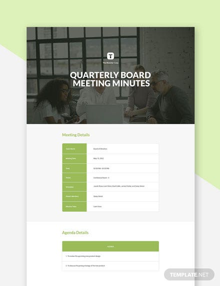 Quarterly Board Meeting Minutes Template