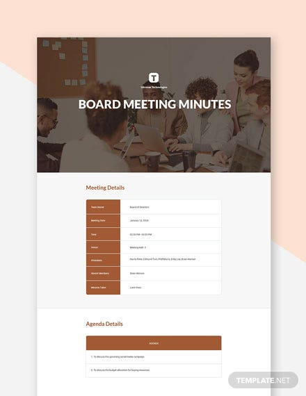 Startup Board Meeting Minutes Template