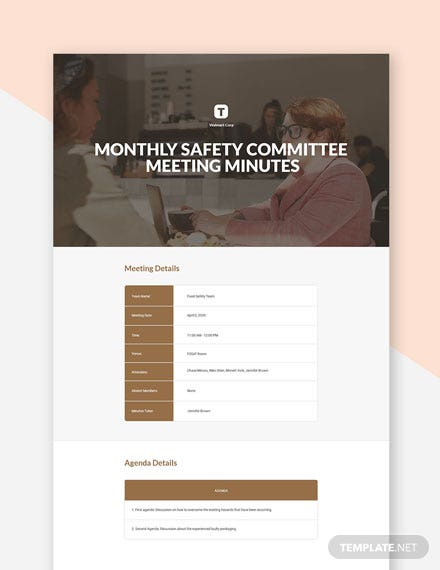 Monthly Safety Committee Meeting Minutes Template