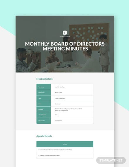 Monthly Board of Directors Meeting Minutes Template