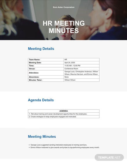 Sample HR Meeting Minutes Template