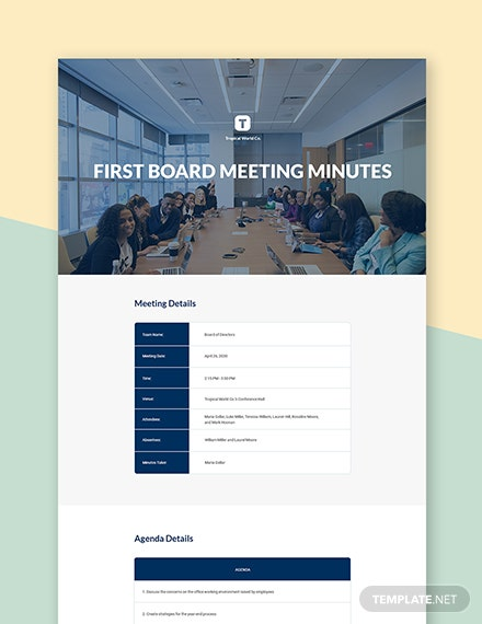 First Board Meeting Minutes Template