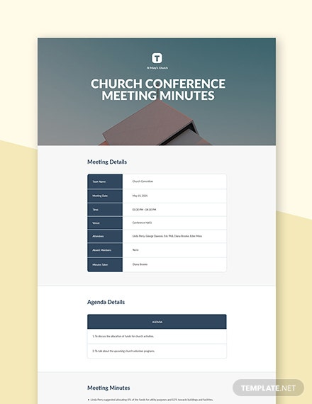 Church Conference Meeting Minutes Template