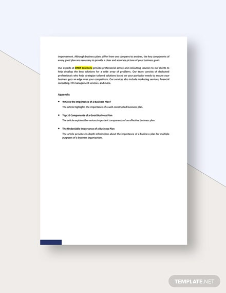Sample Business Plan White Paper