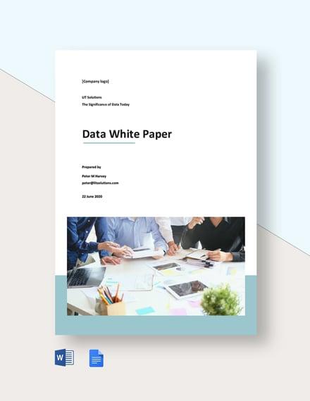Free Sample Data White Paper Template
