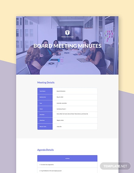 Small Business Board Meeting Minutes Template