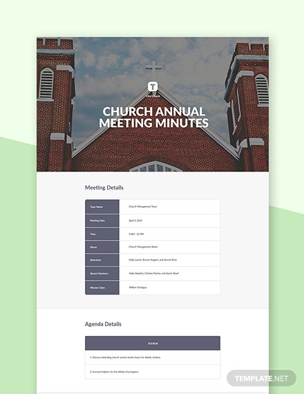 Church Annual Meeting Minutes Template