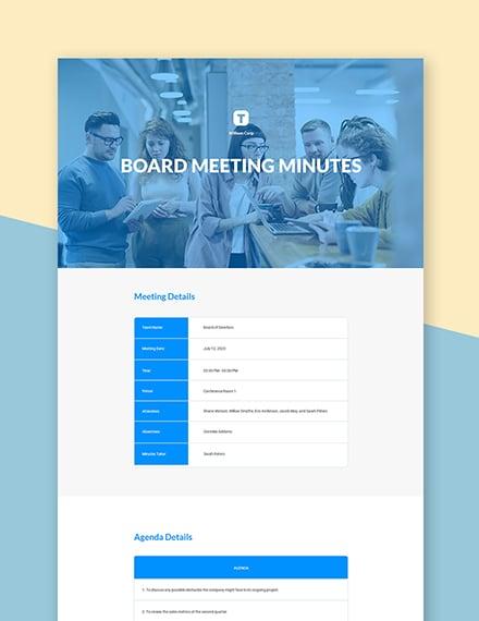 Informal Board Meeting Minutes Template
