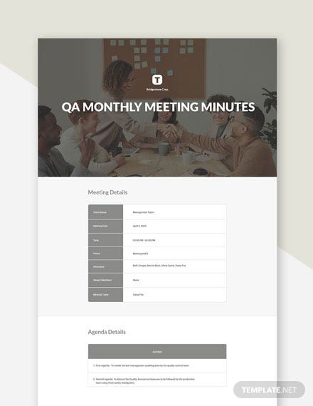 QA Monthly Meeting Minutes Template