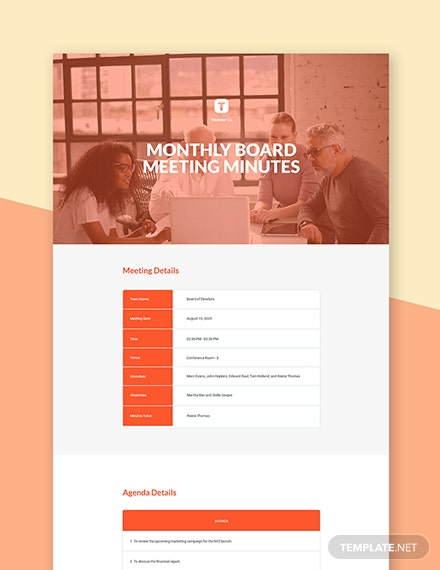 Monthly Board Meeting Minutes Template