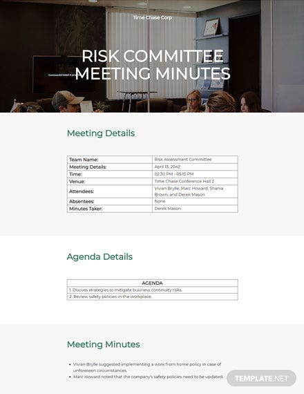 Risk committee meeting minutes template