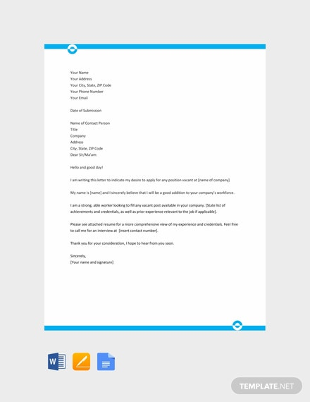 Free Application Letter Template Sample For Any Position