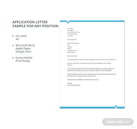 Free application letter template for any position in microsoft word free application letter template sample for any position thecheapjerseys Images
