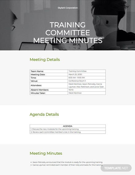 Training committee meeting minutes