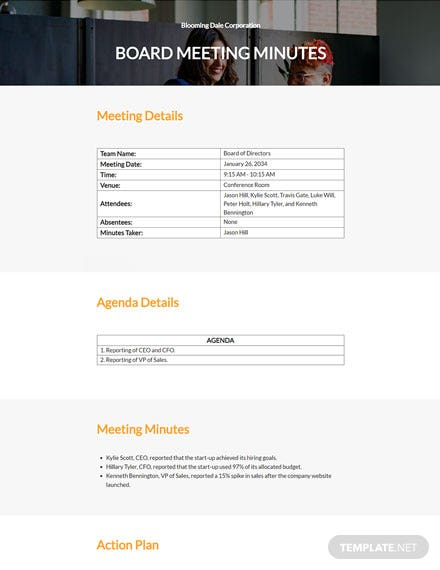 Startup Company Meeting Minutes Template