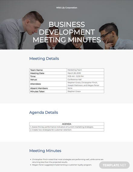 business development meeting minutes template