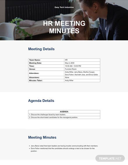 Simple HR Meeting Minutes Template