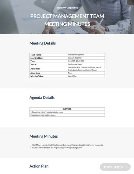 Project Team Meeting Minutes Template