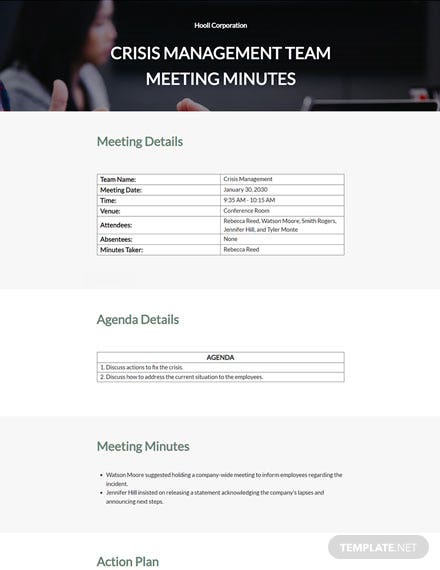 Crisis Management Team Meeting Minutes Template