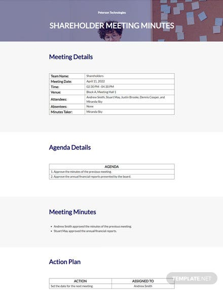 Simple Shareholder Meeting Minutes Template