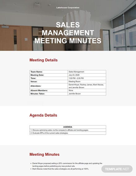 Sample Management Meeting Minutes Template