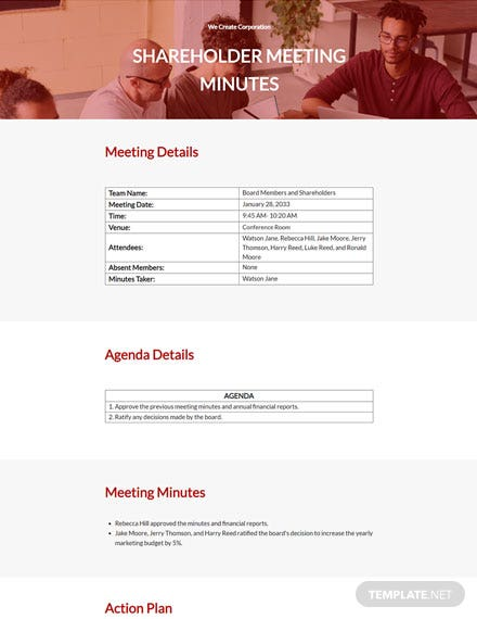 Sample Shareholder Meeting Minutes Template