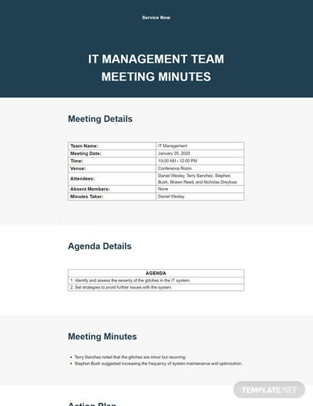 Simple Management Meeting Minutes Template